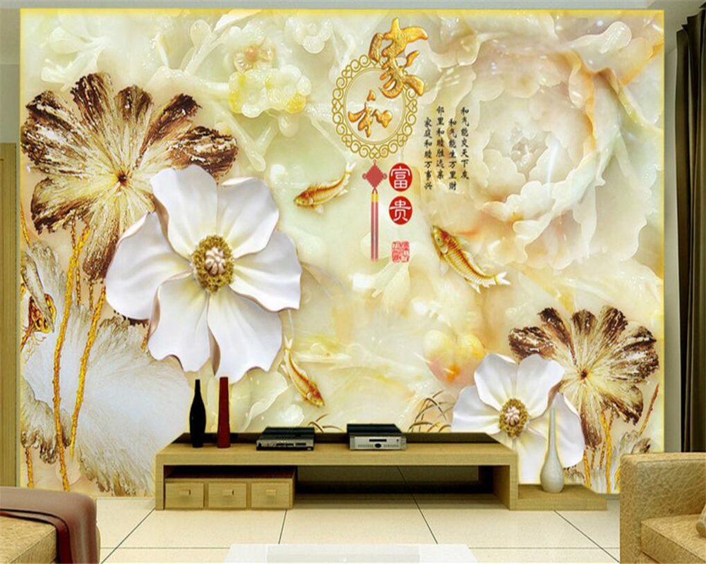 Beibehang Wallpaper The Murals On The Wall Large Custom 3 D Wallpaper Prosperous Figure Bedroom 3d Wallpaper TV Big Jade Flower