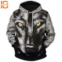 TENNEIGHT 2018 new snow wolf print 3D hooded sweatshirts long sleeved hooded sweater men clothing sports sweatshirts large size