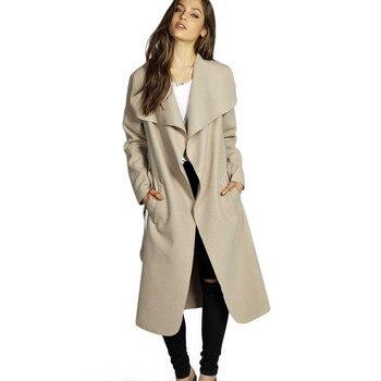 Kenancy Wool Blend Long Trench Coat