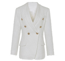 New arrival womens white blazers coat 2018 Autumn elegant double breasted tweed jackets D489