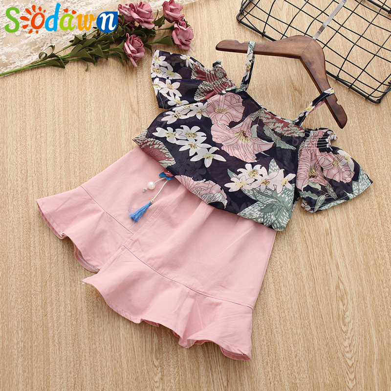 Sodawn 2018 Summer New Summer Style Childrens Clothing Sling Chiffon Top+Dress Girls Suit For Fashion Sweet Baby Girls Clothes