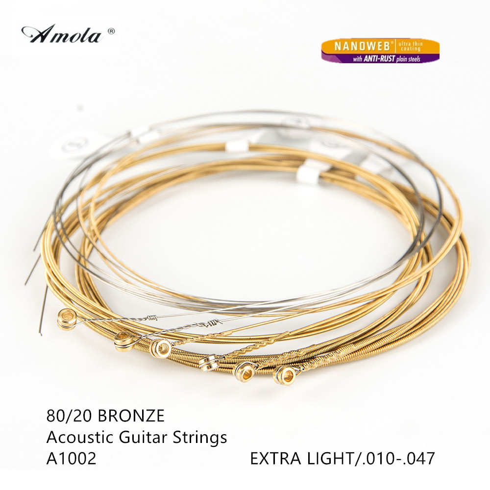 Amola A1002 Acoustic Guitar Strings Nanoweb Extra Thin 010-047 With Anti-rust Plain Steels Wound Guitar Strings 10 Sets amola acoustic guitar strings set 010 012 011 pure copper steel 010 047 acoustic wound guitar 1 6th string musical instruments