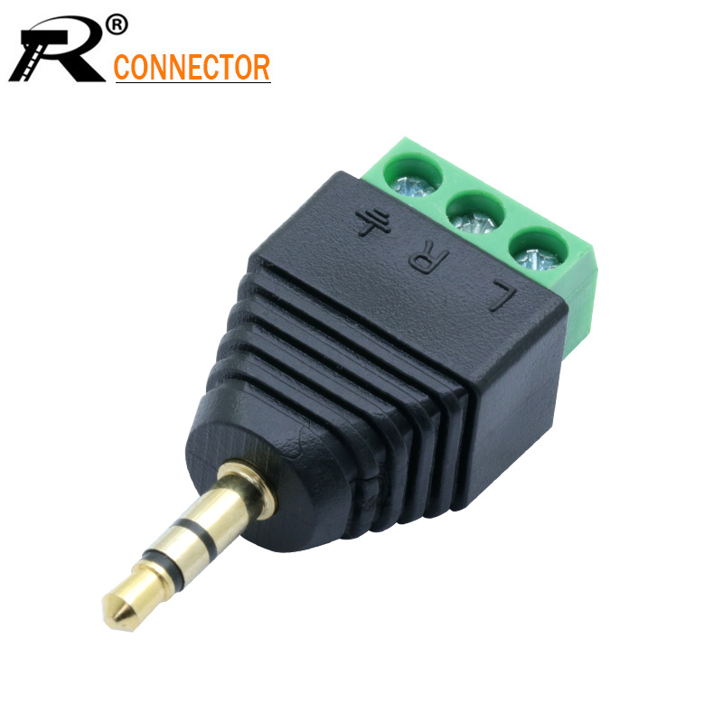3.5mm 3ploe 1/8 Inch Stereo Male Plug To AV Screw Video Balun Terminal Jack 3.5 Mm Male 3 Pin Terminal Block Plug Connector