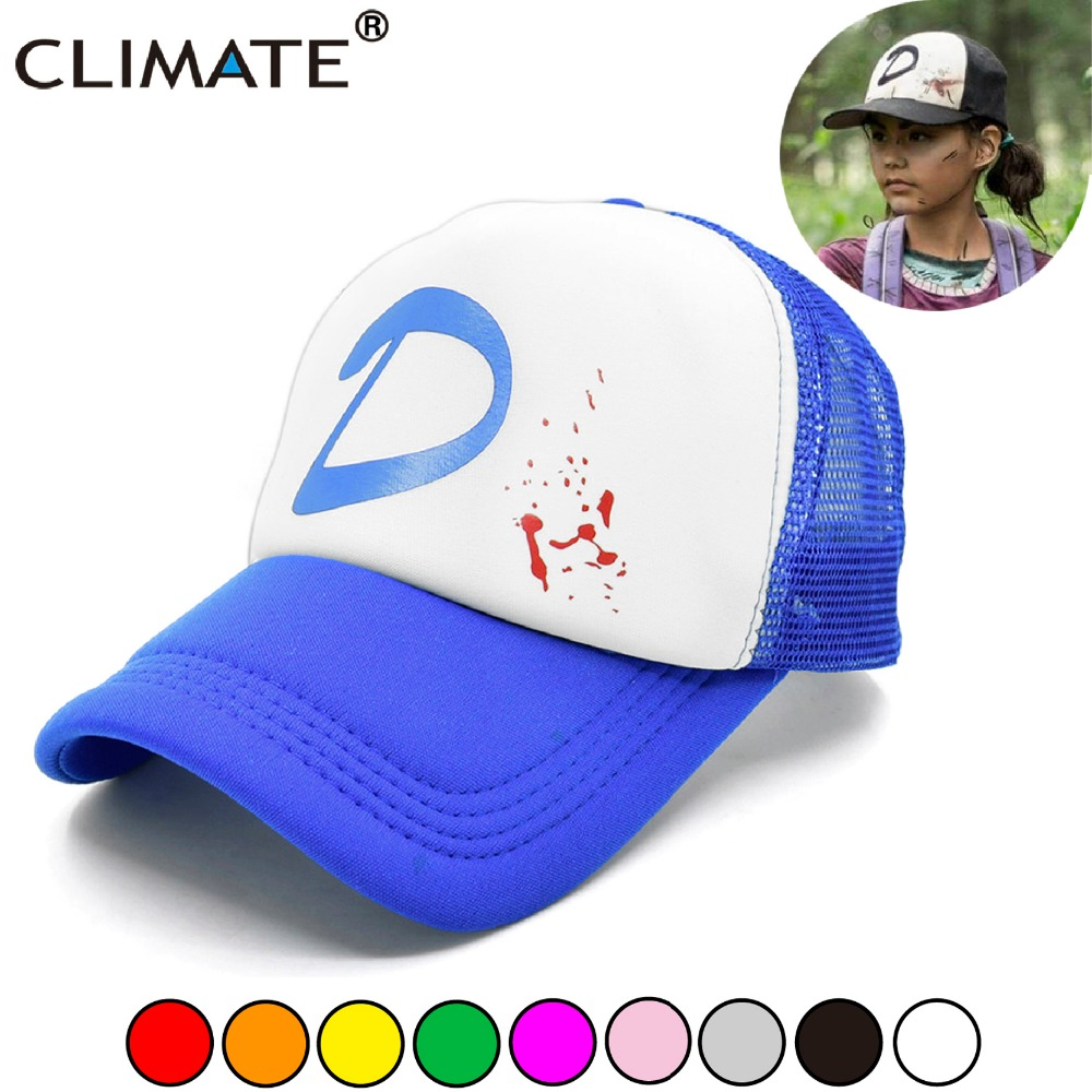 e432aa1405bf2 CLIMATE The Walking Dead Game Clementine Cosplay Caps Hat Clem s Girl Coser  Zombie Killer Cap Summer Cool Trucker Caps Hats