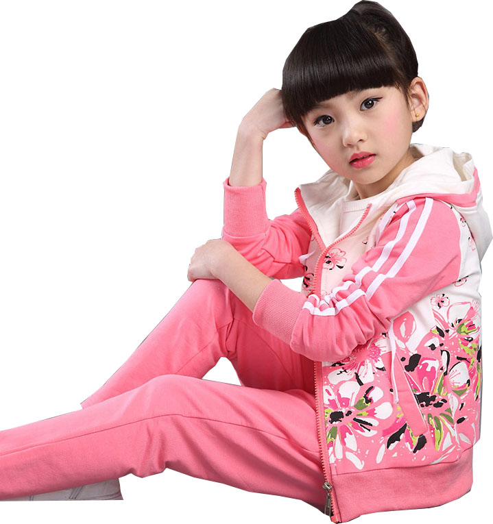 Children s wear 2017 sports children suits cotton girls spring and autumn long - sleeved large Plum two piece