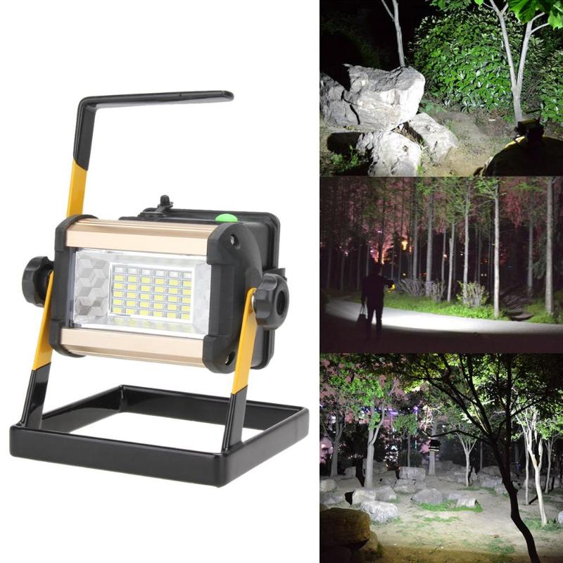 50W 36 LED Rechargeable Floodlight Lamp 2400LM Portable Spotlight Flood Spot Work Light for Outdoor Camping Lamps with Charger 50w 2400lm rechargeable led floodlight portable searchlight led spotlight waterproof ip65 50w 2400lm 36led 3 mode outdoor lamp