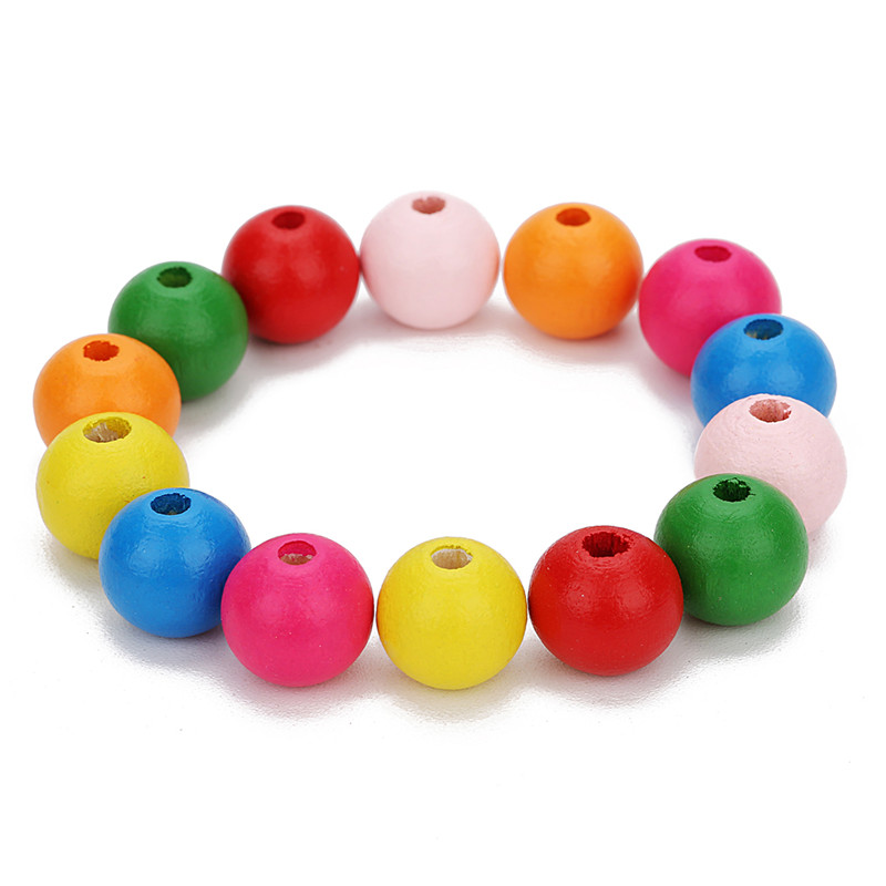LOULEUR 100pcs Natural Wooden Beads 8/10/12/14mm Round Colorful Loose Spacer Wood Beads For Diy Bracelets Jewelry Makings F7573