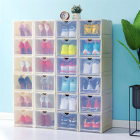 1PCS Eco Friendly Shoe Storage Box Case Transparent Plastic Rectangle PP Organizer Thickened drawer Shoe Box Plastic Box