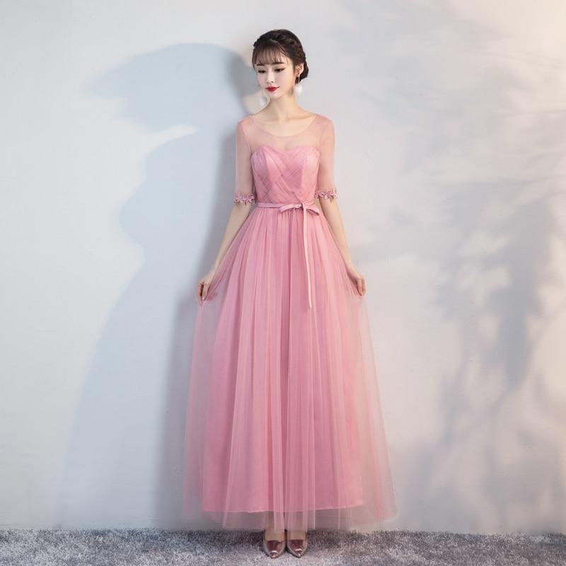 Bridesmaid     Dress   Wedding   Dresses   Elegant Red Bean Pink Long   Dress