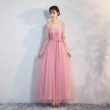 Bridesmaid Dress Wedding Dresses Elegant Red Bean Pink Long Dress v neck red bean pink colour above knee mini dress satin dress women wedding party bridesmaid dress back of bandage