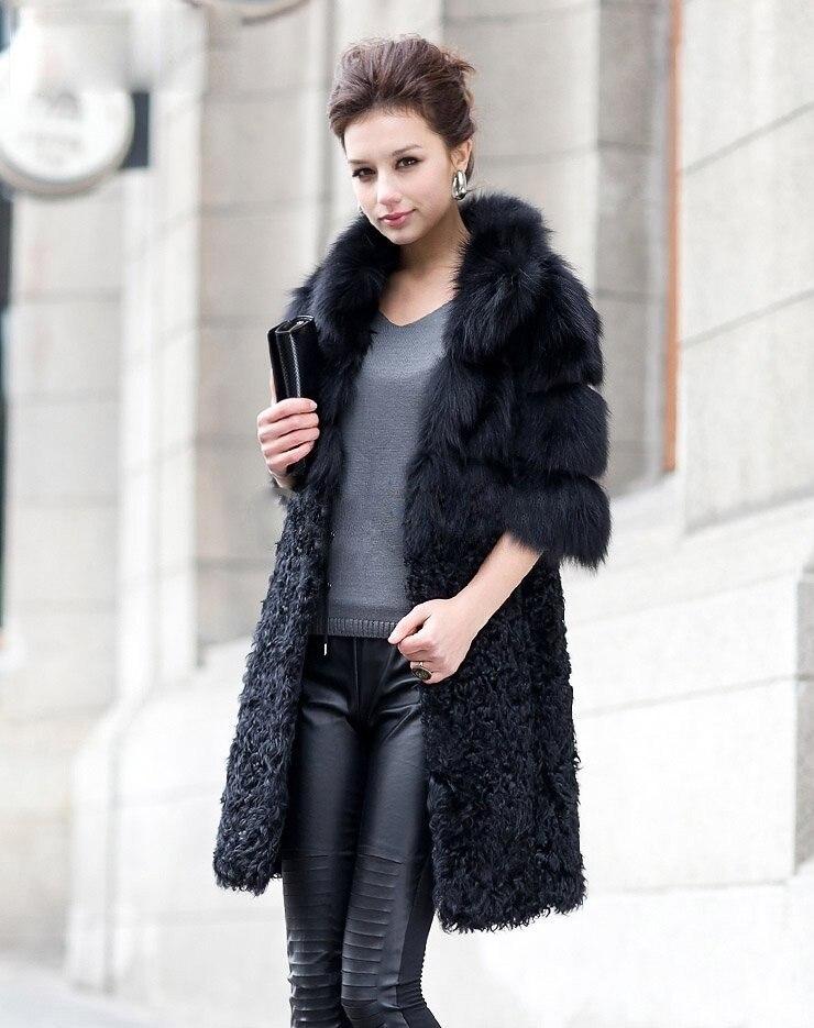 Longue Renard D'agneau Femmes Nouvelles Custom Manteau Et D'hiver Gratuite Dames Véritable Taille De Livraison Mode Outwear Veste Fourrure wfOq8