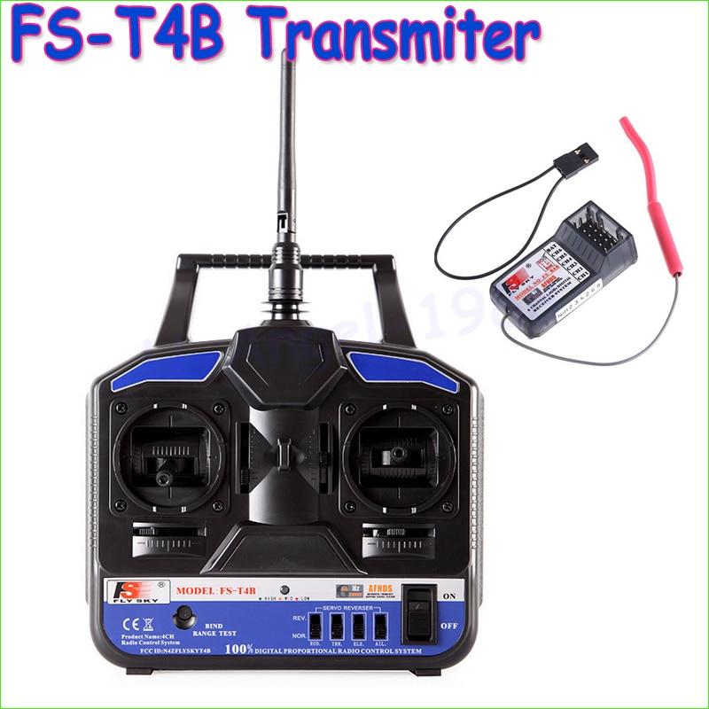 ФОТО Wholesae 1pcs Original High Quality 2.4G Flysky FS-T4B 4CH Radio Model RC Transmitter & Receiver Heli/Airplane