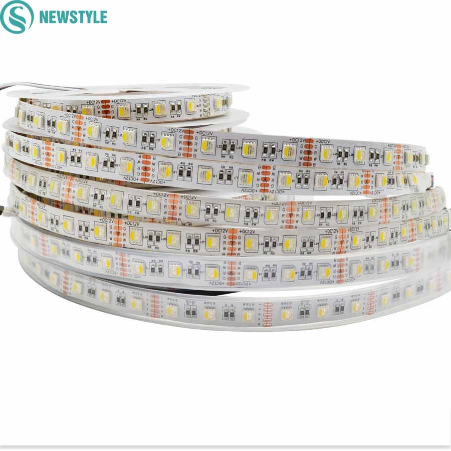 DC12V 5 m Led Strip 5050 SMDRGBW RGBWW 4 Kleuren in 1 Chip Led Flexibele Strip Licht RGB + Wit/Warm Wit indoor decoratie