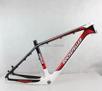 Премиум углеродного волокна горный велосипед кадров, 26 дюймов MTB велосипед аксессуары, Размеры 17 '', красный + белый + цвет углеродного волокн