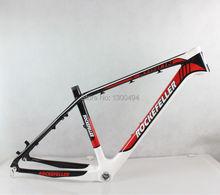 """Premium carbon mountainbike-rahmen, 26 zoll MTB bike zubehör, größe 17 """", rot + Weiß + kohlefaser farbe"""