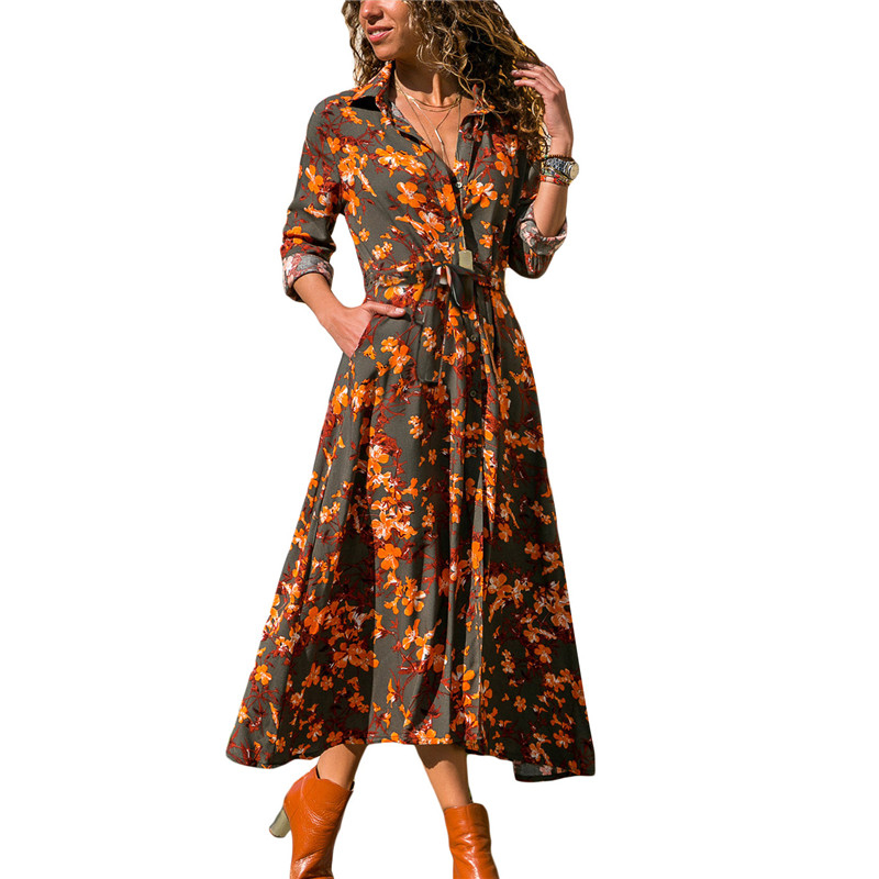 6a9d6f89c3 2019 Spring Summer Long Dress Women Floral Print Maxi Long Dresses Casual  Pocket Turn-down