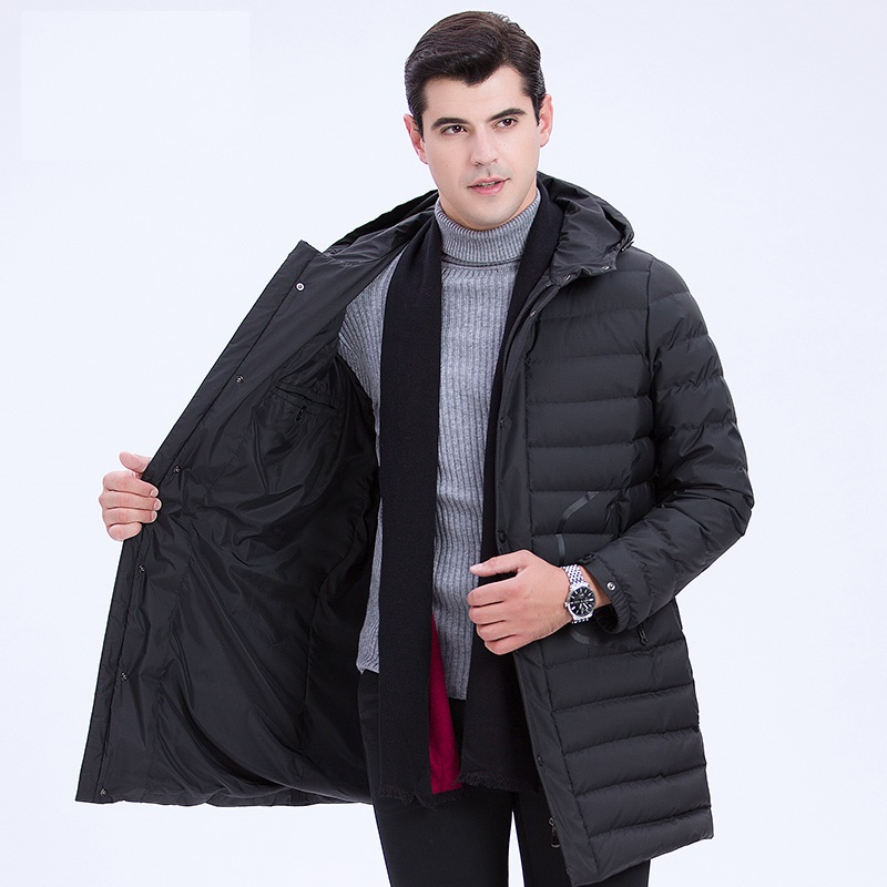 DZYS Men's Duck   Down   Jacket Hooded Long Outwear Parka Thick Warm   Down     Coat   for Men Male 7801
