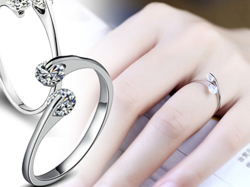 1 pc silver plated ring finger women lady Ring opening Adjustable ...