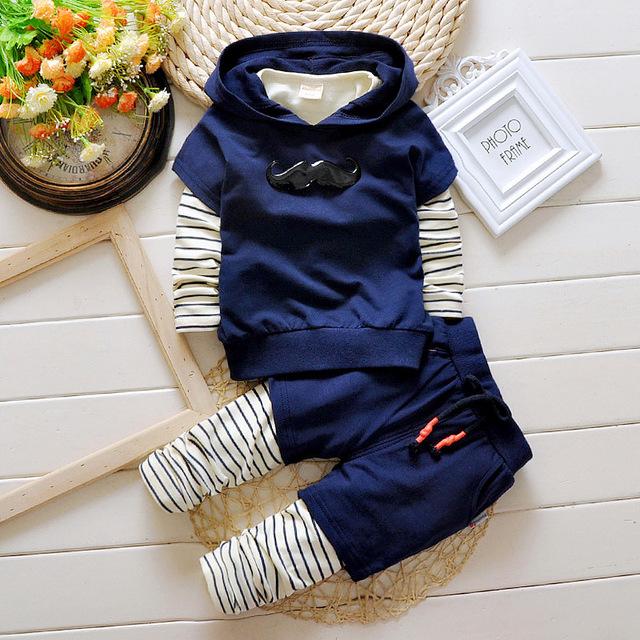 Sistemas del bebé 2016 nuevo otoño 100 algodón con capucha de alta calidad ropa de bebé ropa de moda de marca envío gratis