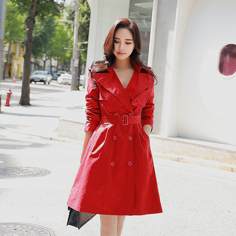 Dabuwawa Women Red Double Breasted Elegant   Trench   Coat New Fashion Long Lapel Belted Windbreaker for Female Girls lady
