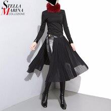 Новинка 2017 г. европейские модные женские туфли Черный шифон юбка с кожаный ремень Регулируемый Высокая талия женские плиссированные Sexy Party юбка 876