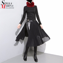 New 2017 European Fashion Women Black Chiffon Skirt With Leather Belt Adjustable High Waist Female Pleated Sexy Party Skirt 876