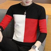 Свитер мужской, 2020, модный, корейский, с длинным рукавом