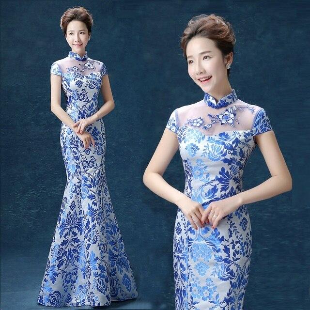 de6c8b17c chinese style Blue and white satin fishtail lace backless cheongsam qipao  dresses shanghai luxurious beautiful summer long xxxl
