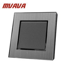 MVAVA Hotel 110-220V EU UK Standard Silver Satin Metal Panel 10A 16A 1 Gang 2 Way Push Button Wall Light Switch Power Supply