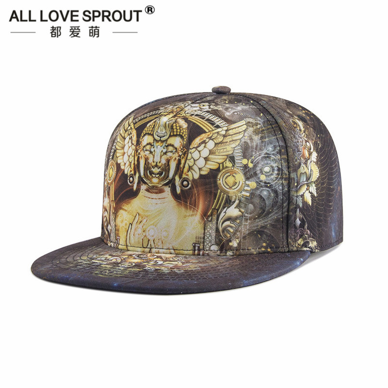 2017 Buddha Brands 3D new Color Printing Buddha Men Women  Hat Hats Baseball Cap Fashion trends Hip Hop Snapback Caps bone wholesale spring cotton cap baseball cap snapback hat summer cap hip hop fitted cap hats for men women grinding multicolor
