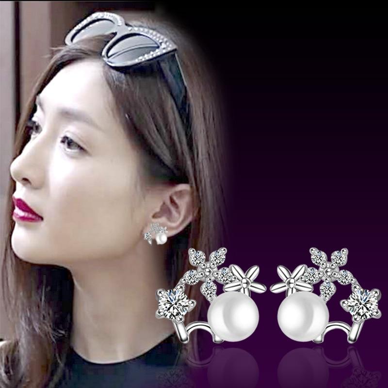 100 925 sterling silver fashion shiny crystal flower imitation pearl ladies stud earrings jewelry women female Anti allergy in Stud Earrings from Jewelry Accessories