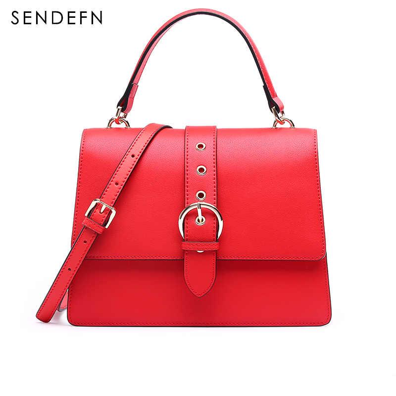 4bf61ec18066 Sendefn красные женские сумки-мессенджеры модные сумки-тоут качественные  кожаные сумки женские черные женские