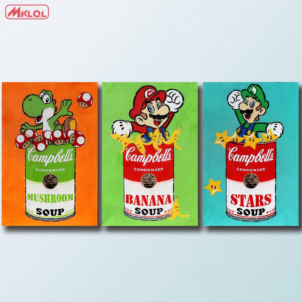 Mode 3 pcsensemble yoshi campbell de soupe aux champignons paiting décor à la maison sur toile moderne mur toile dart affiche