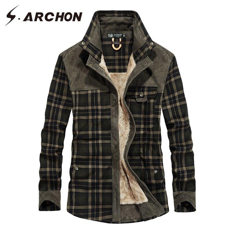 S. ARCHON ผู้ชายผ้าฝ้าย 100% เสื้อแจ็คเก็ตยุทธวิธีผู้ชายเสื้อลำลองลายสก๊อตหนาผ้าขนสัตว์ฤดูหนาวฤดูใบไม้ร่วงเสื้อแจ็คเก็ต Outerwear ชาย-ใน แจ็กเก็ต จาก เสื้อผ้าผู้ชาย บน AliExpress - 11.11_สิบเอ็ด สิบเอ็ดวันคนโสด 1