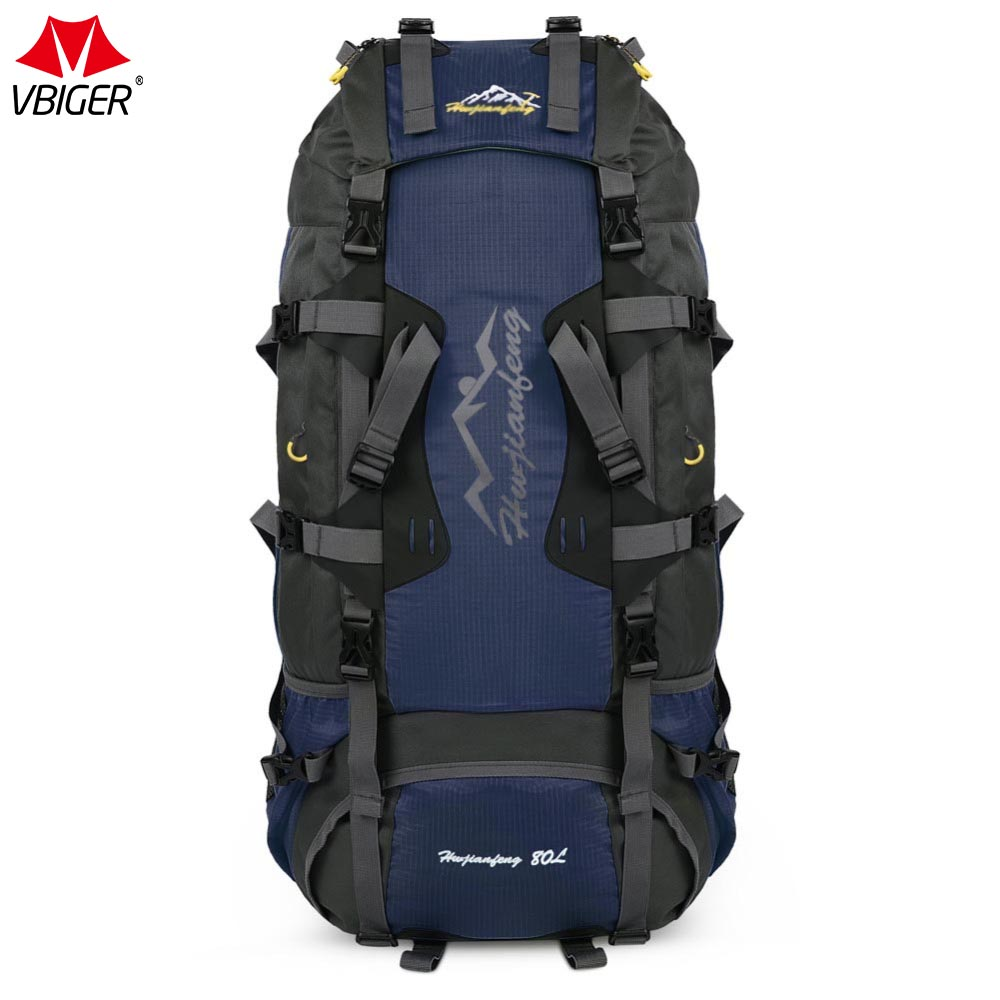Vbiger 80L Men's Backpack Water Resistant Pack Large Capacity Unisex Backpack Soft Hasp Polyester Bags With Waterproof Cover цена и фото