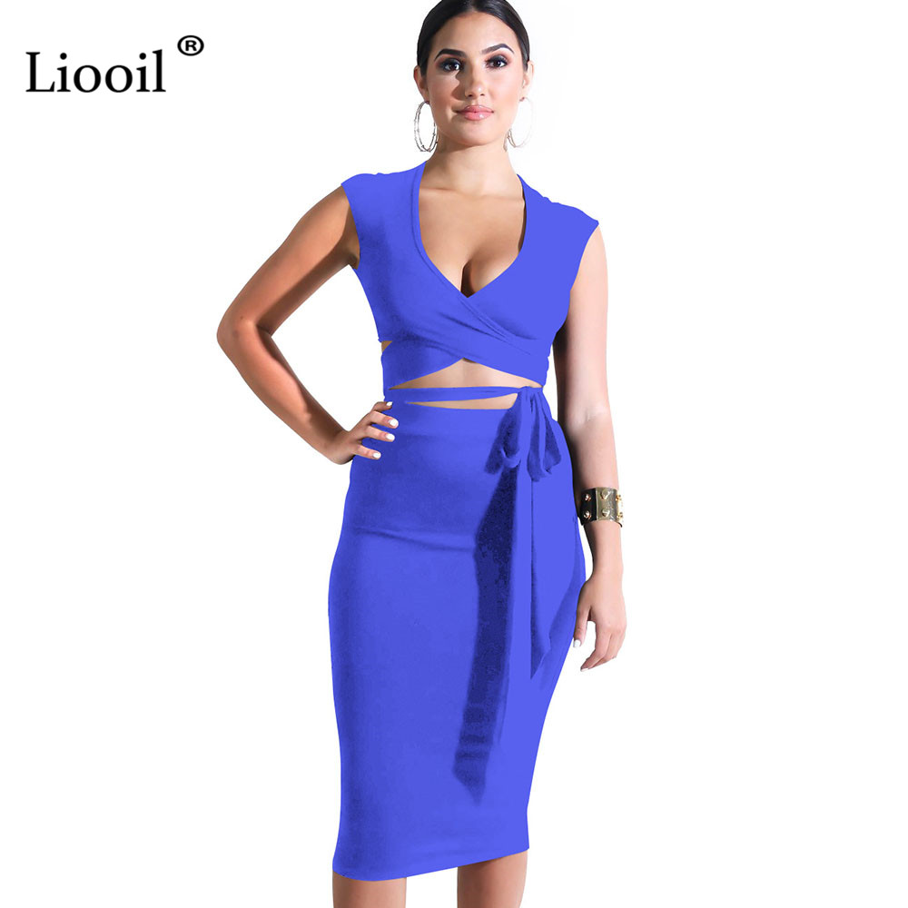 Liooil Two Piece Black White <font><b>Blue</b></font> <font><b>Bodycon</b></font> Tank Midi <font><b>Dress</b></font> Women <font><b>Sexy</b></font> Club Sleeveless V Neck Sheath Lace Up Party Woman <font><b>Dresses</b></font> image