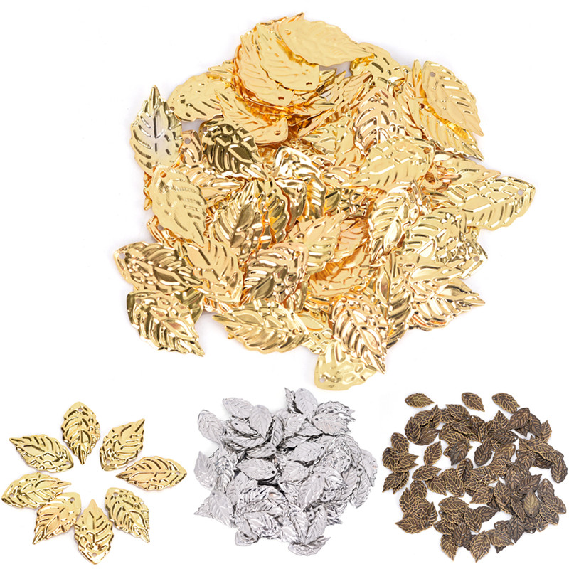 50pcs Copper Leaves Bead Leaf Pendants Gold Color Plated Tree Leaf Connectors For Jewelry Making