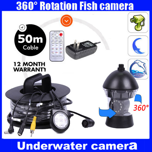 50Meters Depth 360 Degree Rotative Underwater Camera with 14pcs of White or IR LED for Fish Finder & Diving Camera Application 10 50 meters pack 1m per piece led aluminum profile slim 1m with milky diffuse or clear cover for led strips