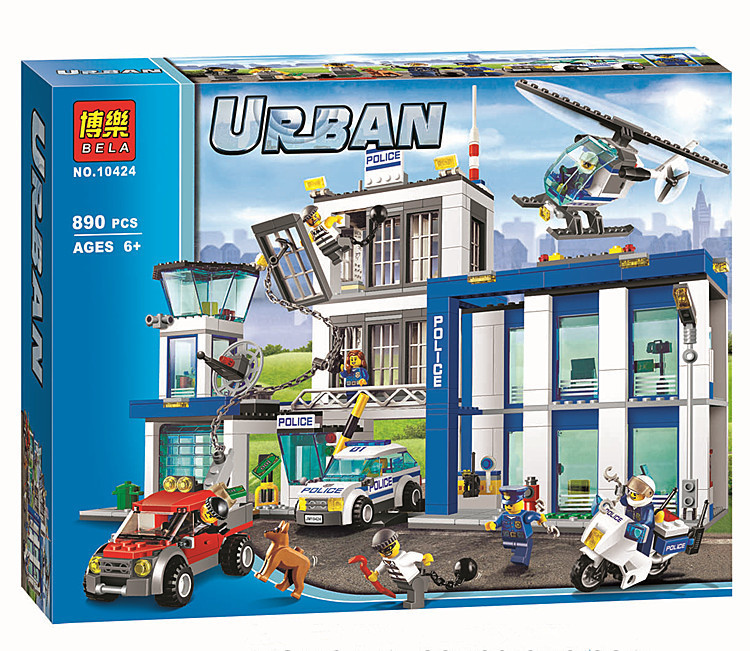 bela 10424 city police station motorbike helicopter model building kits compatible with lego city 60047 blocks educational toys in blocks from toys - Lgo City Police