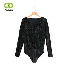 GOPLUS Bodysuits Womens Velvet Casual Autumn V-Neck Long Sleeve Skinny Black Bodysuits Women One Piece Body Bodysuits C8087 цены