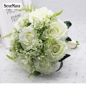 Image 4 - SexeMara boda Borgoña franela Rosa flor para novia boda novia rosa de dama de honor accesorios de fotografía de boda 10colourRr