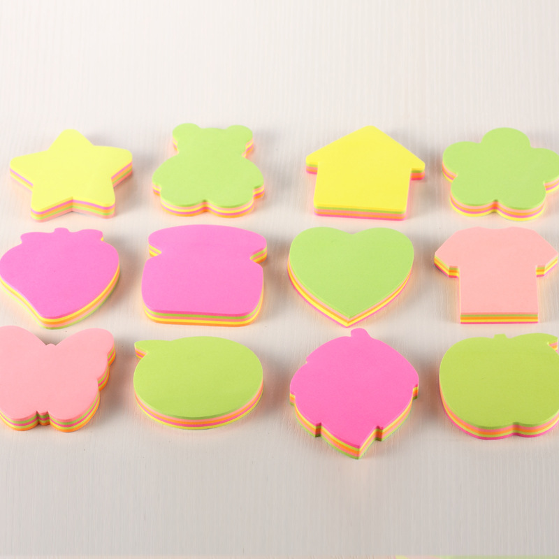 100Sheets/Lot Multicolor Variety Shape Sticky Notes Post Notes Bookmark Sticker Cute Kawaii Memo Pads