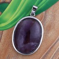 UMY Popular Silver Plated Ellipse Shape Natural Amethyst Stone Pendant Fashion Jewelry