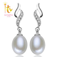 NYMPH Unique Design Natural 8-9MM Pearl Earring White 925 Sterling Silver Earrings Wedding Accessories Birthday Gift Box E257