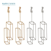 2017 New Hot 1PC Fashion Jewelry Form Sansummer Three-dimensional Rectangle Hollow Simple Original Popular Casual Stud Earrings цена и фото