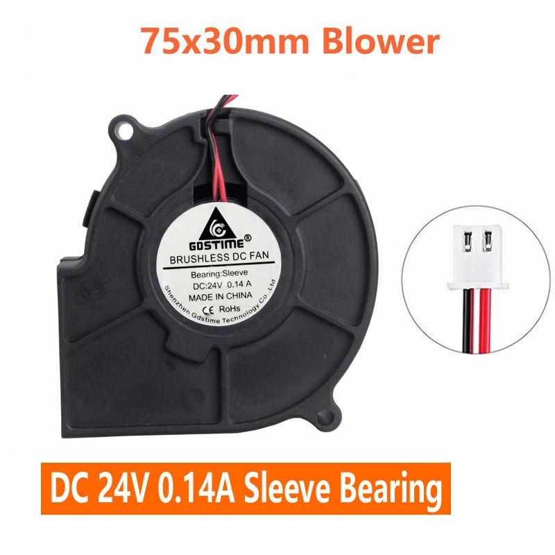 1pcs 2Pin 75MM 24V Brushless DC Blower Cooling  Exhaust Fan 75 x 75 x 30mm