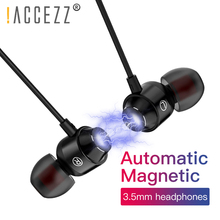 !ACCEZZ Magnetic Earphone With Microphone 3.5mm In-Ear Super Hifi Stereo Earphones For Xiaomi Samsung iphone Wired Sport Headset