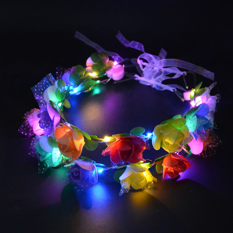 Home & Garden Creative Woman Girl Flashing Glow Artificial Flowers Headband Light Rave Hair Garland Wreath Led Glow Party Decoration Wedding Supplies Comfortable Feel