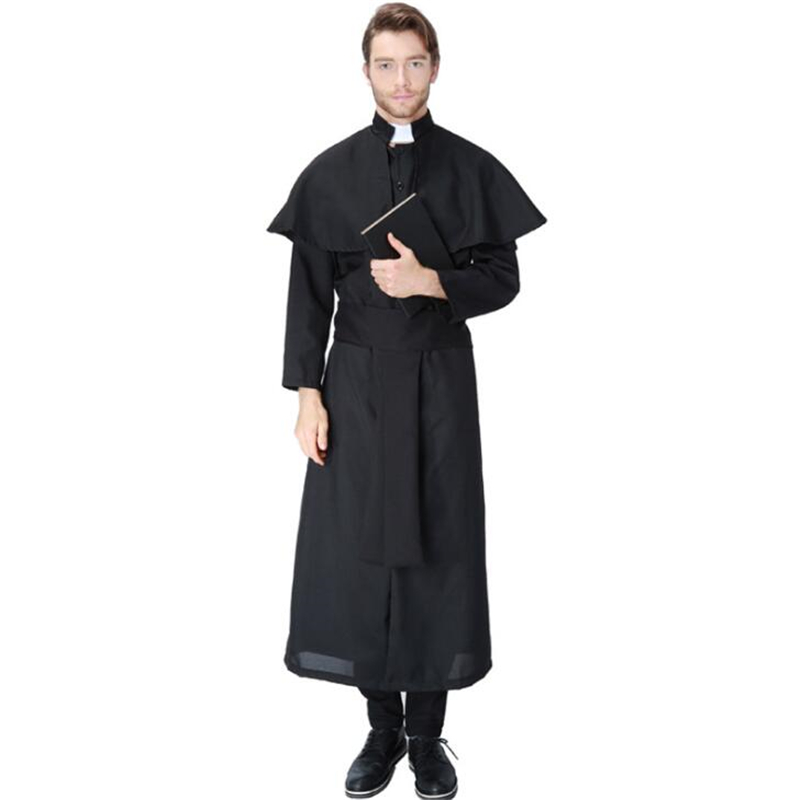 Deluxe Quality Mens Priest Costume Halloween Adult Party Cosplay Clothing