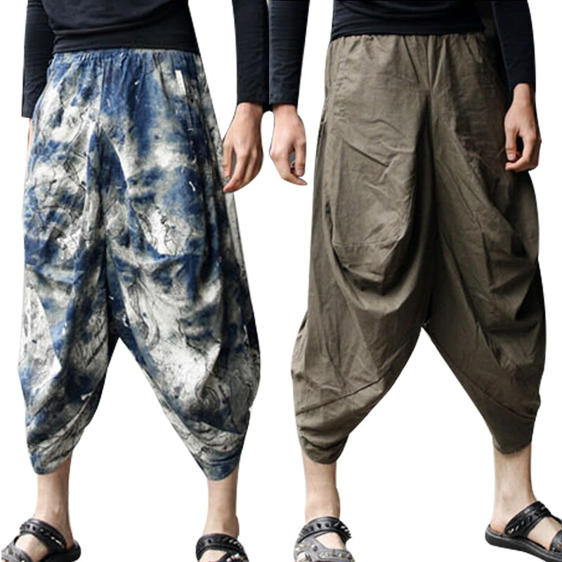 SHOWNO Mens Casual Cotton Linen Floral Loose Fit Hip Hop Chinese Style Casual Pants Trousers